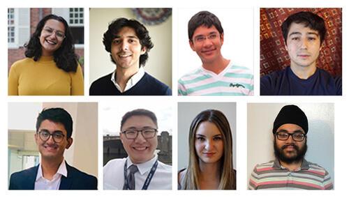 Top left to bottom right: India Bhalla-Ladd, Shoumik Chowdhury, Krish Desai, Gabe Hoshino, Shantanu Jha, Derek Kuldinow, Isabel Sands, and Sukhman Singh