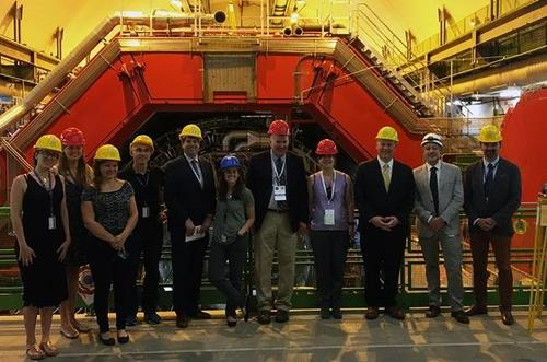From left to right: Leticia Cunqueiro (ORNL); Sarah Charley (CERN-US protocol office); Friederike Bock (ORNL); Constantin Loizides (ORNL); Thomas (T.L.) Cubbage (Deputy Undersecretary of Science at the DOE);  Hannah Bossi (Yale graduate student); Jim Siegrist (Director of High Energy Physics at the DOE); Kristen Ellis  (Chief of Staff for the Undersecretary of Science at the DOE); Chris Fall (Director of the DOE Office of Science); Frederico Antinori (Padova/CERN); Mateusz Ploskon (LBL). Photo courtesy of B