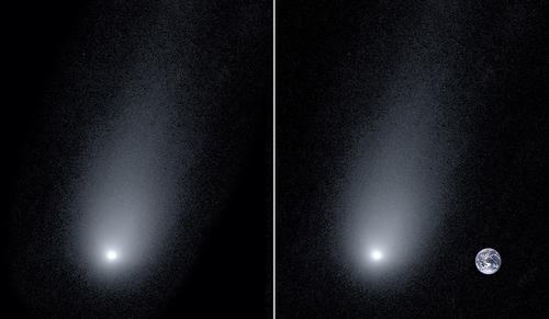 Left: A new image of the interstellar comet 2l/Borisov. Right: A composite image of the comet with a photo of the Earth to show scale. (Pieter van Dokkum, Cheng-Han Hsieh, Shany Danieli, Gregory Laughlin)