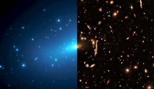 Hubble Space Telescope image of the massive galaxy cluster MACSJ1206 with the distortions produced by light bending and the dark matter map generated from these lensing effects (shown on the left in blue). Credit: NASA, ESA, G. Caminha (University of Groningen), M. Meneghetti (Observatory of Astrophysics and Space Science of Bologna), P. Natarajan (Yale University), the CLASH team, and M. Kornmesser (ESA/Hubble)