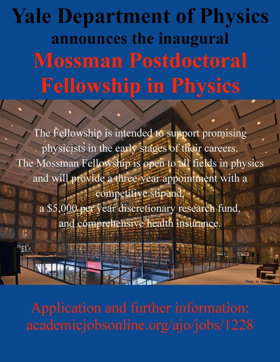 Yale Mossman Postdoctoral Fellowship in Physics (Deadline