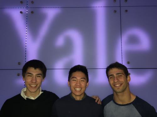 Devin Cody (SM '17, left), Alex Lee (TD '17, middle), and Jacob Marks (PC '17, right) receive Silver Medal in international University Physics Competition