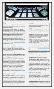 Physics Department Weekly Newsletter - June 8, 2018 Issue