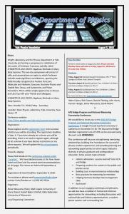Physics Department Weekly Newsletter - August 3, 2018