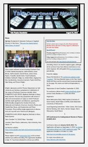 Physics Department Weekly Newsletter, August 24, 2018
