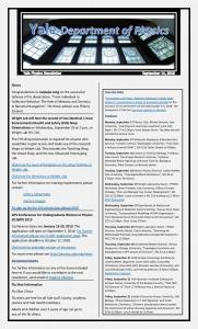 Physics Department Weekly Newsletter - September 14, 2018
