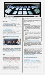 Physics Department Weekly Newsletter - March 15, 2019