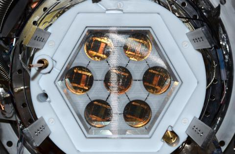 Interior view of the PIXeY liquid xenon detector at Yale. Photo by Ethan Bernard.