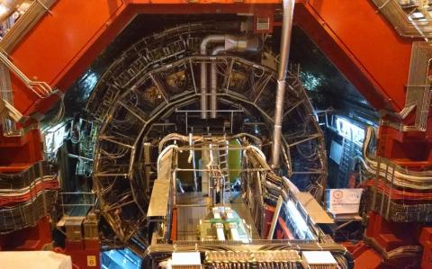The central barrel of the ALICE experiment at the Large Hadron Collider. Photo by Raymond Ehlers