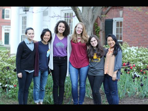 Carolyn Zhang. Most of the undergraduates of the Yale Women in Physics board.