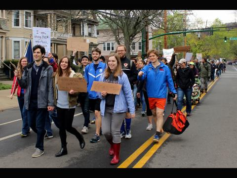 Connor Hann. New Haven March for Science with first year physics graduate students.