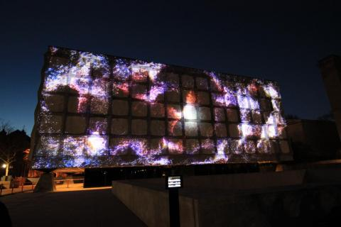 Lux: Ideas Through Light, the light show projected on the Beinecke Rare Book and Manuscript Library. Taken by Grace Pan.