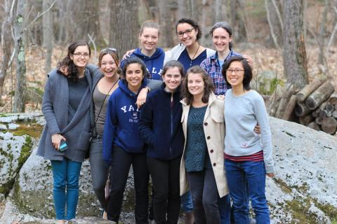 (Some of) the women who planned the 2015 Conference for Undergraduate Women in Physics at a group reunion at Professor Sarah Demers' house. Taken by Steve Demers.