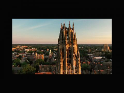 Hao Yan. An aerial photo of Yale Harkness Tower by drone.