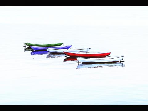 Hao Yan. Colorful boats near City Point, New Haven.