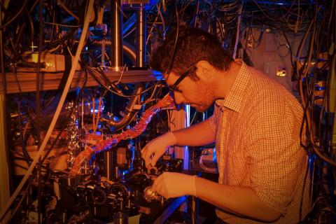 Post doctoral researcher Daniel McCarron fine tuning his experiment in Professor David DeMille's Atomic Physics lab. Photo by Jennifer Stergiou