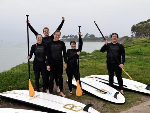 Yale LUX group stand-up paddle boarding during our analysis workshop in UCSB this February. Photo by Markus Horn