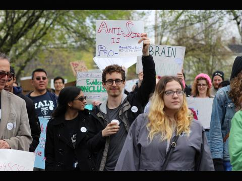 Grace Pan. Graduate students Sumita Ghosh and Danny Seara showing their support at the New Haven March for Science.