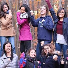 group of undergraduates posing in photo.