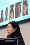 "Yale physicist Reina Maruyama presents on ""Detecting Dark Matter."" (Photo credit: Mara Lavitt)"