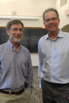 "Paul Tipton, outgoing chair, with Karsten Heeger, incoming chair, at the Department of Physics' annual ""Tea Time and Awards Celebration,"" held on Friday, May 17, 2019 in the Sloane Physics Laboratory. Photo credit: Yale Wright Laboratory/Victoria Misenti"
