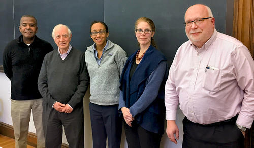 Brooke Russell, center, with her thesis committee at Yale. Left to right: O. Keith Baker, Francesco Iachello, Brooke Russell, Bonnie Fleming, Steve Lamoreaux. (Image courtesy of Brooke Russell)